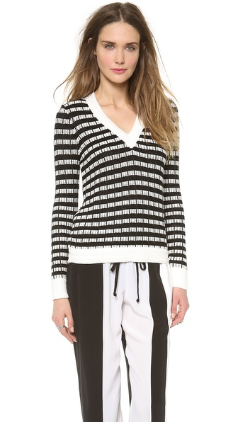 Joseph Basket Weave Knit V Neck Sweater