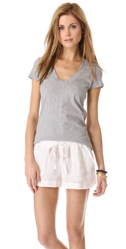 James Perse Heathered Relaxed Casual V Neck Tee