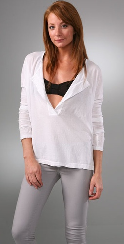 James Perse Long Sleeve Henley Top