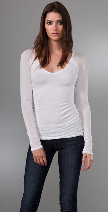James Perse Double Layered Scoop Neck Tee with Ruched Sides