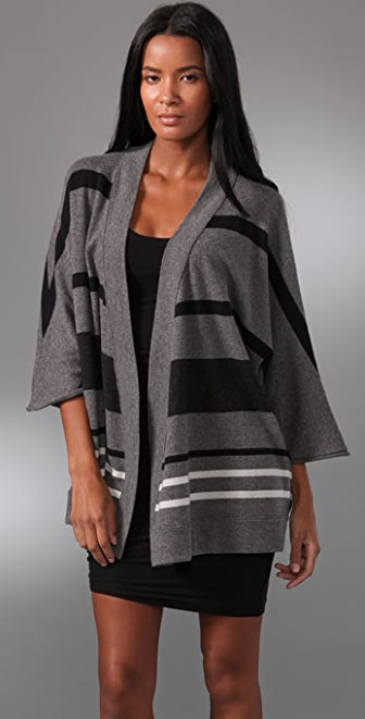 James Perse Striped Poncho Cardigan