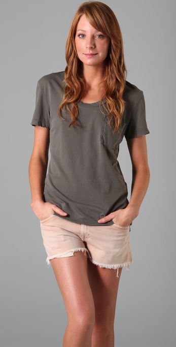James Perse Jewel Neck Pocket Tee