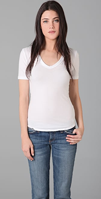 James Perse Brushed Jersey V Neck Tee