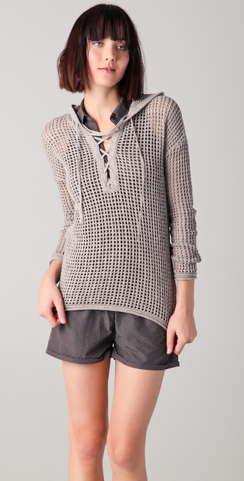 James Perse Open Stitch Lace Up Sweater