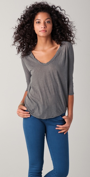 James Perse Curved Hem Raglan Tee