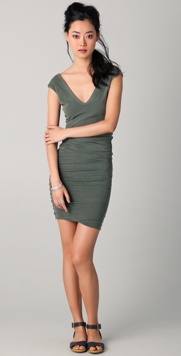 James Perse Cap Sleeve Deep V Dress