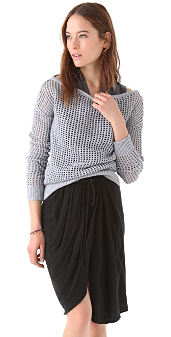 James Perse Boat Neck Mesh Sweater