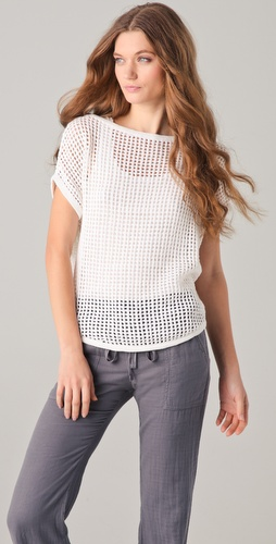 James Perse Curved Hem Mesh Sweater