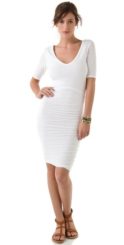 James Perse Sexy Deep V Short Sleeve Dress