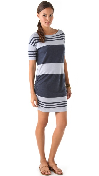 James Perse Wide Stripe Slash Neck Dress