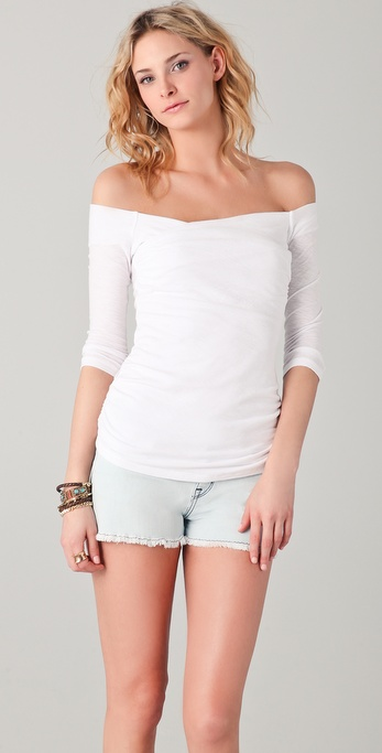 James Perse Cross Front Off Shoulder Top