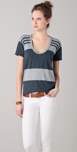 James Perse Relaxed Scoop Neck Striped Tee