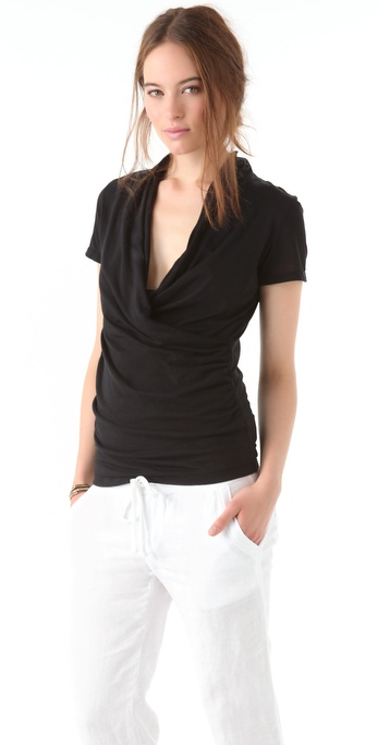 James Perse Cross Front Drape Short Sleeve Shirt