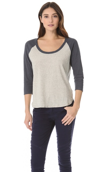 James Perse Curved Hem Baseball Tee