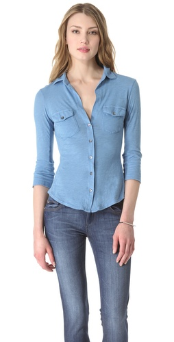 James Perse Ribbed Panel Shirt at Shopbop.com