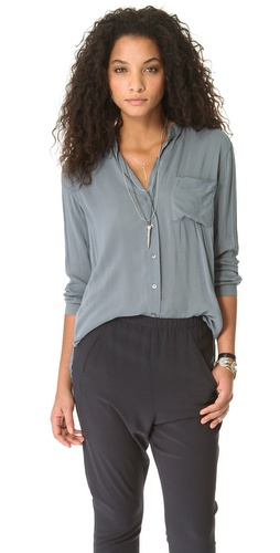 James Perse Collarless Pocket Shirt at Shopbop.com