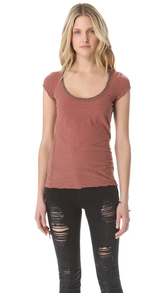 James Perse Stripe Ringer Tee
