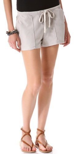 James Perse Pintucked Knit Twill Shorts