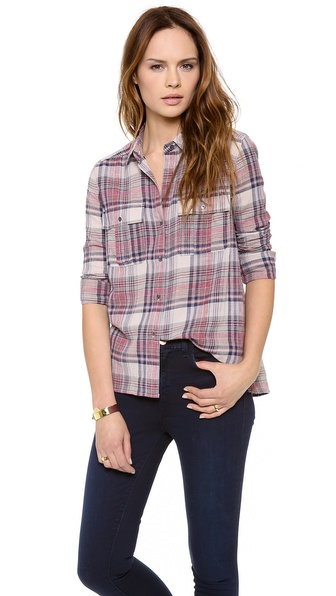 James Perse Shoreditch Plaid Pocket Shirt
