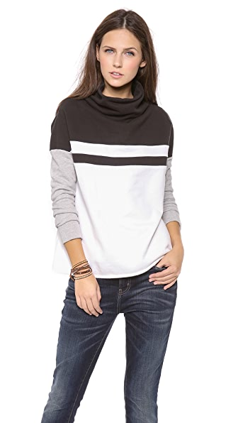 James Perse Colorblock Funnel Neck Pullover