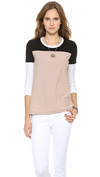 James Perse Colorblock Slub Varsity Tee