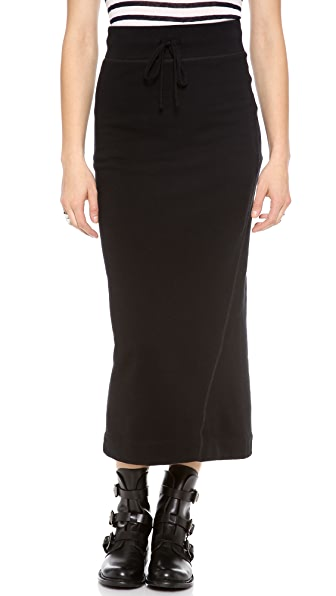 James Perse Fleece Twisted Seam Maxi Skirt