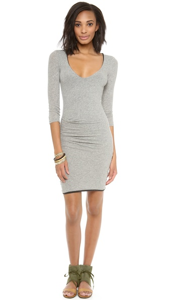 James Perse Skinny V Neck Tuck Dress