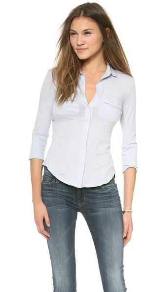 James Perse Ribbed Contrast Panel Shirt