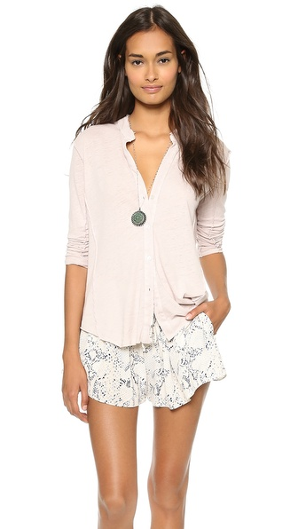James Perse Inside Out Linen Button Up Top