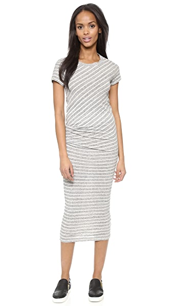 Kupi James Perse haljinu online i raspordaja za kupiti James Perse Stripe Tucked Tee Maxi Dress Heather Grey online