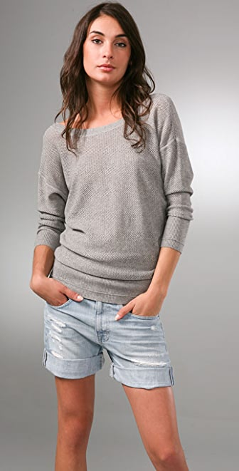 Juicy Couture 3/4 Sleeve Mesh Sweater with V Back