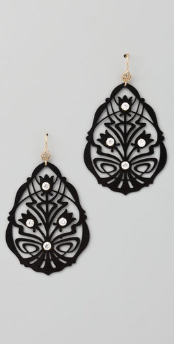 Juicy Couture Black Openwork Teardrop Earrings