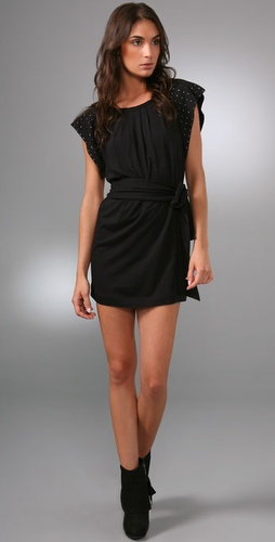 Juicy Couture Pleated Mini Dress with Gunmetal Accents