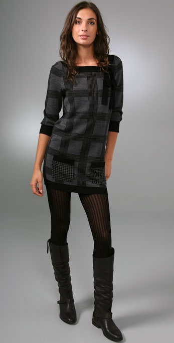 Juicy Couture Houndstooth Sweater Tunic with Pockets