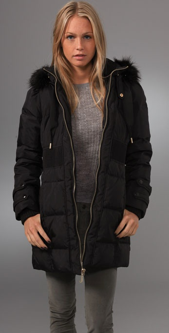 Juicy Couture Nylon Puffer Coat with Removable Faux Fur