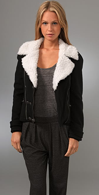 Juicy Couture Puff Motorcycle Jacket with Sherpa Collar