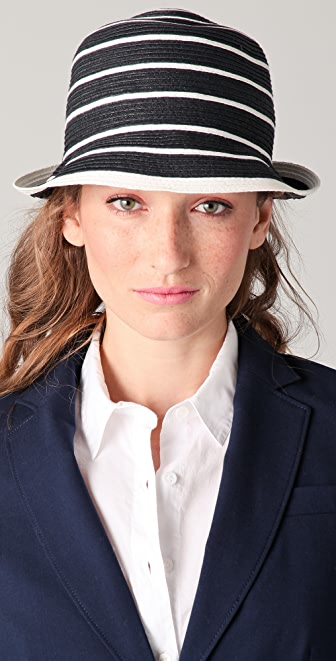Juicy Couture Striped Straw Fedora