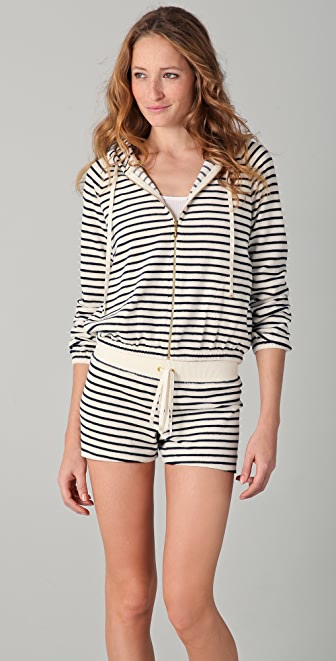 Juicy Couture Sunshine Stripe Terry Zip Hoodie