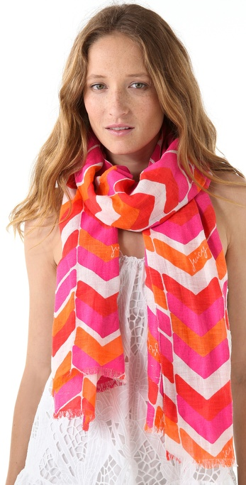 Juicy Couture Chevron Striped Linen Scarf