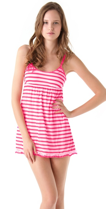 Juicy Couture Striped Mesh Ruffled Nightie