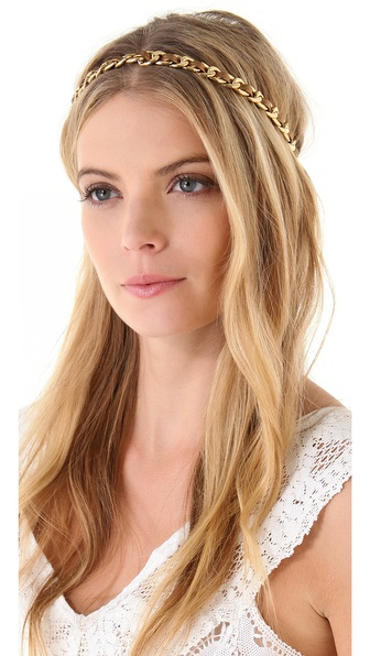 Juicy Couture Leather & Chain Stretch Headband