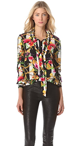 Juicy Couture Floral Stripe Silk Blouse
