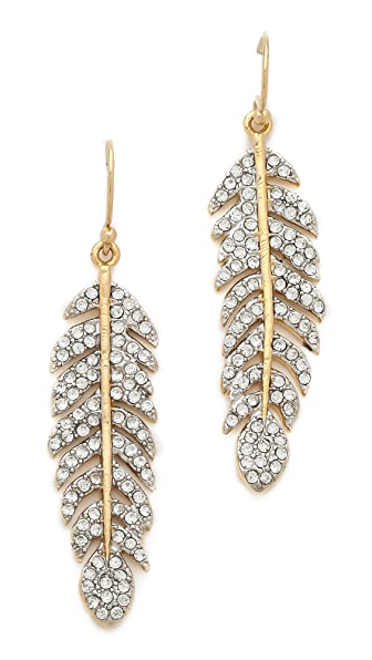 Juicy Couture Pave Feather Drop Earrings