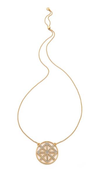 Juicy Couture Pave Lattice Round Pendant Necklace