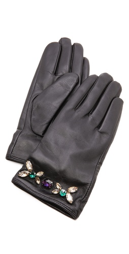 Juicy Couture Glamour Girl Leather Gloves at Shopbop / East Dane