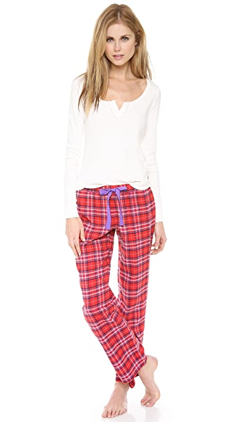 Juicy Couture Flannel PJ Henley Set
