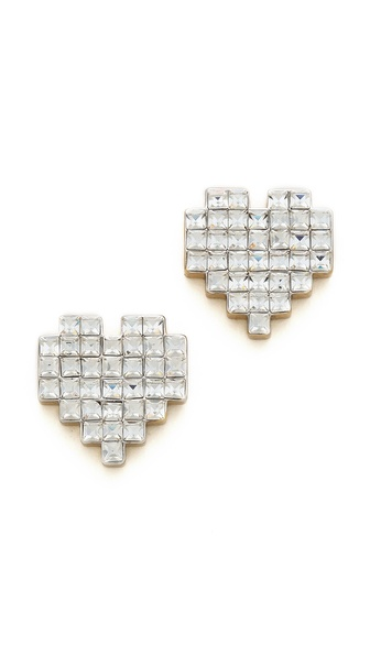 Juicy Couture Heart Of Gold Pixel Heart Stud Earrings