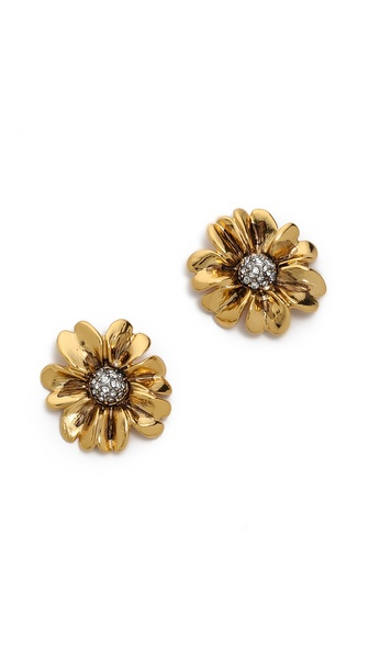 Juicy Couture Brilliant Blooms Pave Flower Stud Earrings