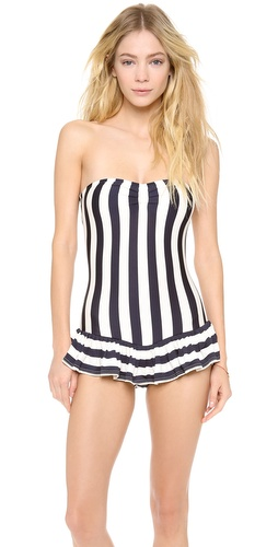 Shop Juicy Couture online and buy Juicy Couture Boho Stripe Swimsuit - A Juicy Couture swimsuit with a nautical feel. A ruffled overlay adds girly flounce. Optional spaghetti straps. Lined.  84% nylon/16% spandex. Hand wash. Imported, China. - Regal