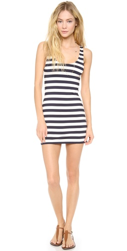 Shop Juicy Couture online and buy Juicy Couture Boho Stripe Cover Up Dress - FREE SHIPPING at shopbop.com. A cover-up tank dress made from striped jersey. Scoop neckline.  Fabric: Jersey. 84% nylon/16% spandex. Hand wash. Imported, China.  MEASUREMENTS Length: 30in / 76cm, from shoulder - Regal